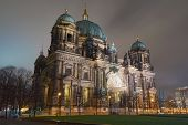 stock photo of evangelism  - Evangelical Cathedral Facade in Berlin at night - JPG