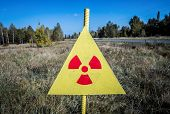 picture of alien  - Ionizing Radiation sign next to Red Forest in Chernobyl Nuclear Power Plant Zone of Alienation Ukraine - JPG