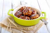 stock photo of meatball  - Teriyaki chicken meatballs  on table selective focus - JPG