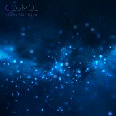 pic of cosmos  - Vector cosmos illustration with stars and galaxy on dark background - JPG