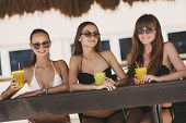 stock photo of hawaiian girl  - Three young girls with beautiful figure - JPG