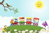 image of passenger train  - Vector illustration of Happy kids cartoon on a colorful train - JPG