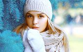 foto of christmas hat  - Christmas winter and people concept  - JPG