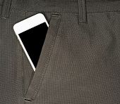 stock photo of black pants  - smartphone with a black screen in the pocket of pants - JPG