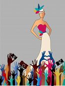 stock photo of reach the stars  - Fame Woman  reaching hands camers woman gown hat  - JPG