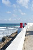 stock photo of gulf mexico  - View of the promenade on the eastern shore of the ocean in Isla Mujeres - JPG