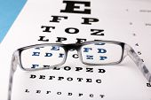 image of medical chart  - Glasses on eye chart close - JPG