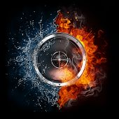 pic of infernos  - Loudspeaker on Fire and Water Isolated on Black Background - JPG