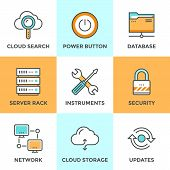 pic of tool  - Line icons set with flat design elements of cloud computing communication technology internet hosting service network folder sharing technical tools - JPG