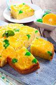 foto of clementine-orange  - Cherry dots orange upside down cake on board - JPG