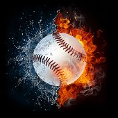picture of softball  - Baseball Ball in Fire and Water - JPG