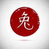 picture of hieroglyph  - Chinese calligraphy zodiac rabbit on red background - JPG