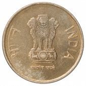 foto of indian currency  - New Five gold Indian rupees on a white background - JPG