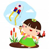 pic of hanbok  - a vector of a girl playing kite - JPG