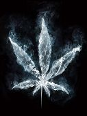 foto of marijuana leaf  - Marijuana in Smoke on Black Background - JPG