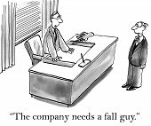 picture of take responsibility  - Cartoon of businessman saying to associate - JPG