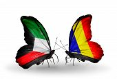 picture of chad  - Two butterflies with flags on wings as symbol of relations Kuwait and Chad Romania - JPG