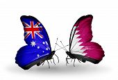 pic of qatar  - Two butterflies with flags on wings as symbol of relations Australia and Qatar - JPG
