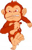 pic of chimp  - vector illustration of cute angry monkey cartoon - JPG