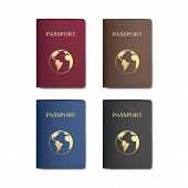 image of passport cover  - Vector Set of Passports with Map Isolated on White Background - JPG