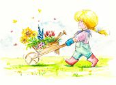foto of wheelbarrow  - Girl with wheelbarrow full of flowers is going to her garden - JPG