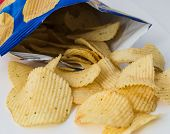 foto of potato chips  - Potato chips bright yellow color is very salty - JPG