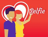 stock photo of selfie  - Happy couple are doing selfie for Valentines day - JPG