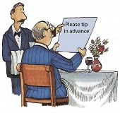 stock photo of waiter  - Cartoon of waiter showing sign to diner at restaurant that says please tip in advance - JPG