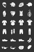image of headgear  - Big vector set of sports accessories clothing footwear headgear - JPG