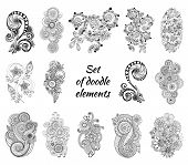 picture of henna tattoo  - Set of Henna Paisley Mehndi Doodles Abstract Floral Vector Illustration Design Element - JPG