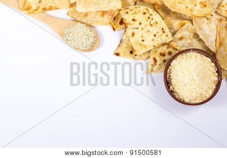 copy space with flat bread and ingredients