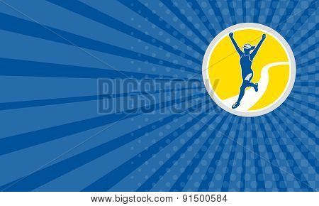 Business Card Female Triathlete Marathon Runner Retro