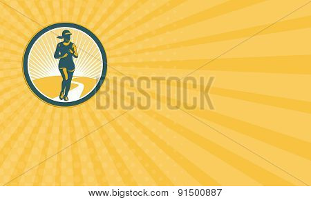 Business Card Female Marathon Runner Circle Retro