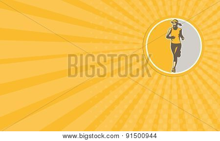 Business Card Female Triathlete Marathon Runner Circle Retro