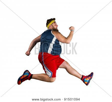 Fat man running