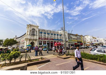 People At The Connaught Place In Delhi