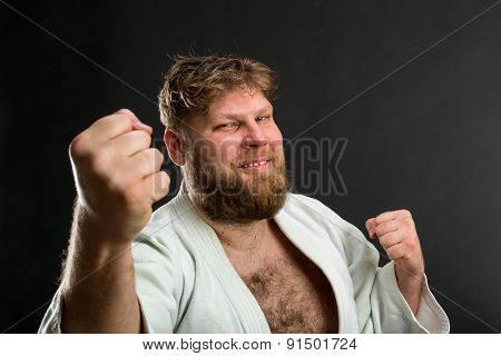 Bearded karate fighter
