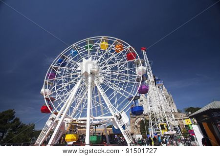 BARCELONA, SPAIN - MAY 2, 2015:  Frerrish-wheel in the Amusement Park on Mount Tibidabo in Barcelona, Catalonia, Spain