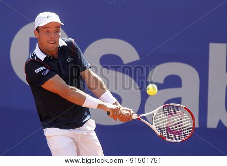 BARCELONA - APRIL, 23: Spanish tennis player Roberto Bautista Agut in action during a match of Barcelona tennis tournament Conde de Godo on April 23, 2015 in Barcelona