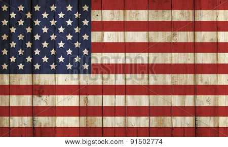 Wooden Fence With Usa Flag Pattern