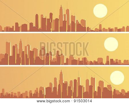 Set Of Banners With Big City At Sunset.