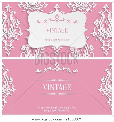 Vector Pink 3d Vintage Invitation Template with Floral Damask Pattern
