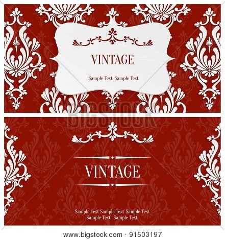 Vector Red 3d Vintage Invitation Template with Floral Damask Pattern