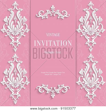 Vector Pink Vintage Invitation Card with 3d Floral Pattern