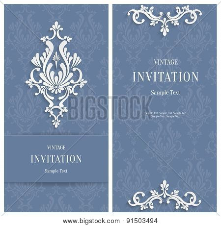 Vector Grey Floral 3d Background. Template for Wedding or Invitation Cards