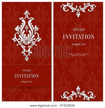 Vector Red Floral 3d Background. Template for Christmas or Invitation Cards