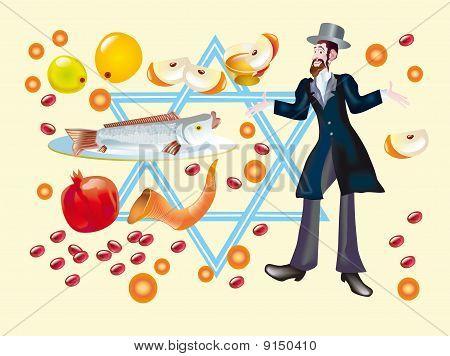 Rosh A-shana Or Holiday Of Beginning Of Jewish New Year