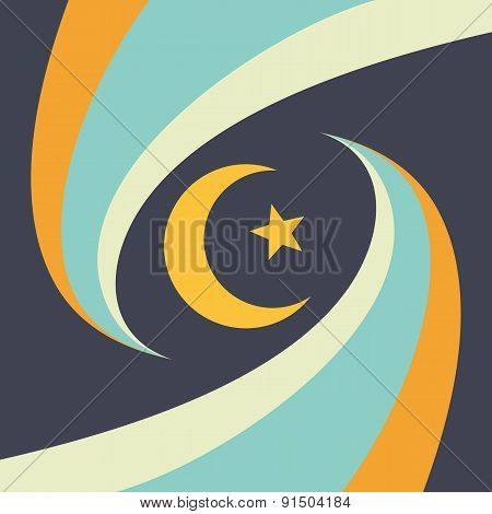 Crescent moon, star and abstract stripes - vector background illustration.