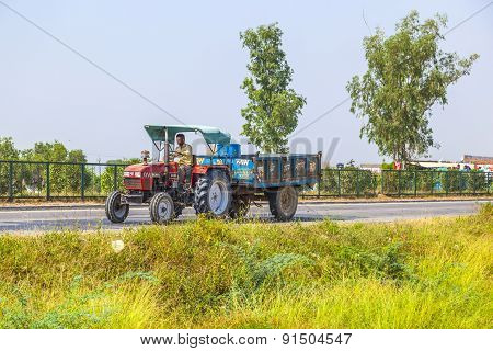 Tractor With Trailer On The Highway