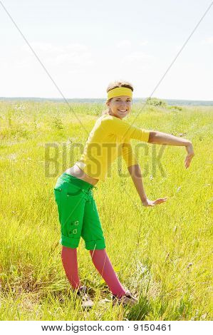 Cheerleader On Meadow